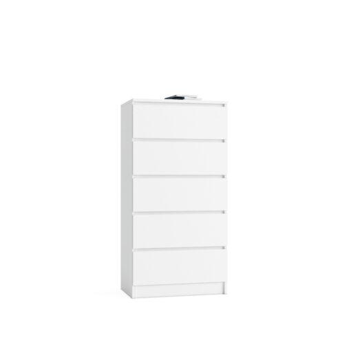 komoda biała pięć szuflad