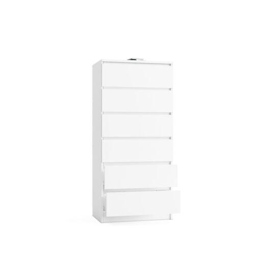 komoda biała sześć szuflad