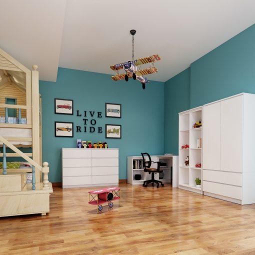 białe meble w pokoju dzieciecym